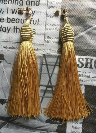 Серьги кисточки длинные густые с плотной нитью сережки