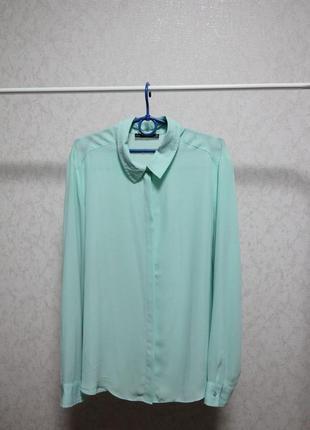 Блуза рубашка ментоловая шифон