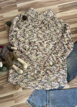 Красивый,объёмный свитер крупной вязки «меланж» (швеция🇸🇪)