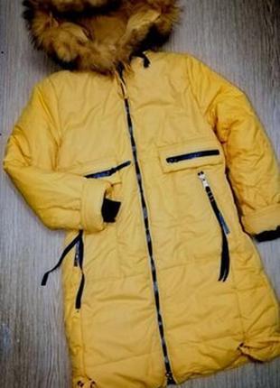 Зимняя куртка пальто с натуральным мехом