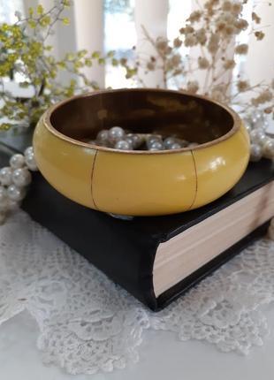 Браслет винтаж латунный бронзовый с бакелитовыми вставками широкий