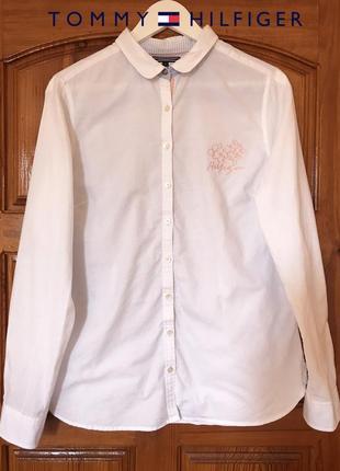 Белоснежная хлопковая рубашка tommy hilfiger оригинал!