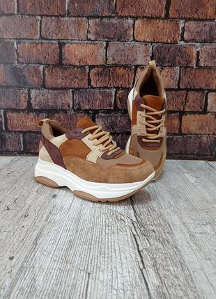 Коричневі осінні замшеві кросівки stilli