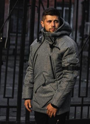 Мужская технологичная зимняя куртка lc - smart серая ,парка