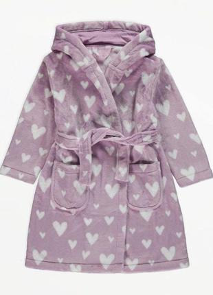 : брендовый теплый халат для ребенка из плюша с капюшоном george (джорж