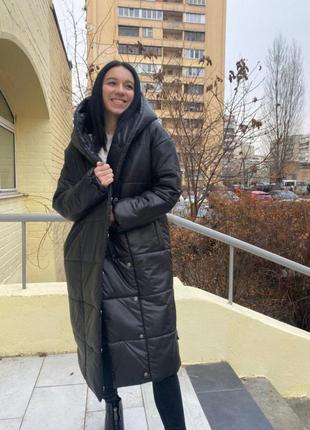 Пальто пуховик стильный длинный стёганый с капюшоном тёплый