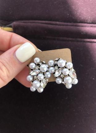 Серьги пуссеты гвоздики серебро жемчуг бижутерия