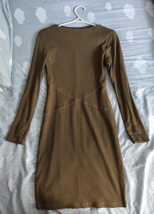 Красивое платье в рубчик цвета хаки от goldi