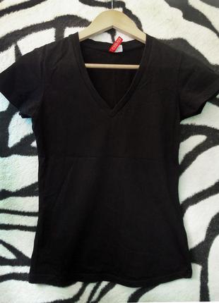 Черная футболка h&m майка тенниска поло 36 38 м 10 8