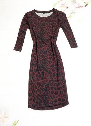 Повседневное леопардовое бордовое платье футляр плаття с леопардовым принтом облегающее