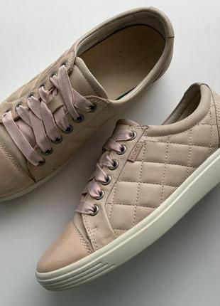 Мега комфортные пудровые кожаные кроссовки , туфли ecco 👟 🍂 размер 37 (24 см)оригинал ❗❗❗