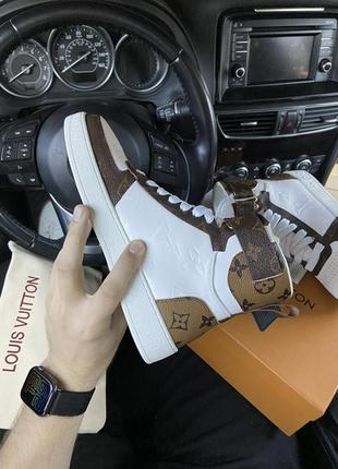 Жіночі круті шкіряні кросівки sneakers high brown white