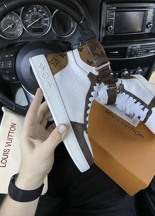 ❤️🌺louis vuitton sneakers high brown white ❤️🌺женские стильные высокие кроссовки
