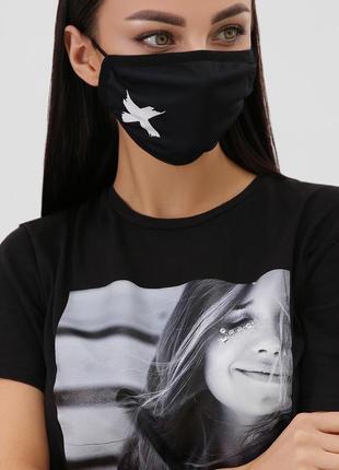 Маска защитная тканевая текстильная, многоразовая, черная с принтом