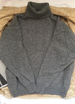 Стильный серый свитер под горло , свитер шерсть , размер s- m