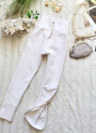 💣💣💣распродажа! крутые белые штаны лосины высокой посадки с молния и n 721