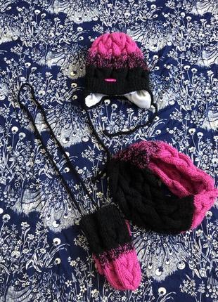 Набор шапка хомут рукавицы