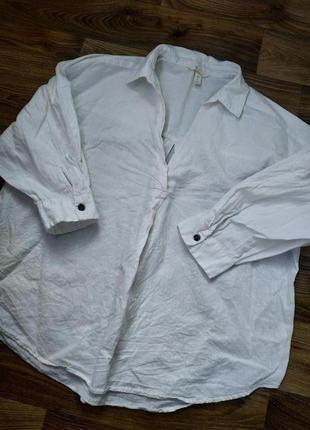 Льняная 55% рубашка свободного кроя от h&m