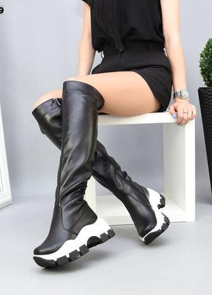 ❤ женские черные осенние демисезонные кожаные высокие сапоги ботфорты ❤