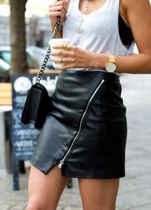 Кожаная мини юбка, эко кожа, zara
