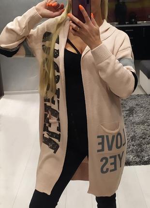 Кардиган с надписями карманами и капюшоном цвет пудра