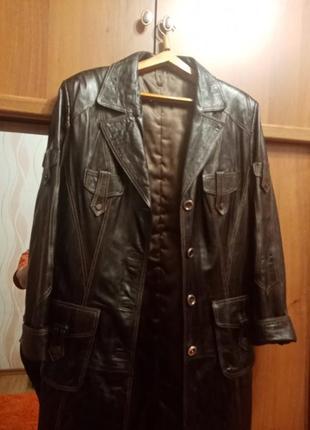 Кожаный плащ 50р тёмно-коричневый