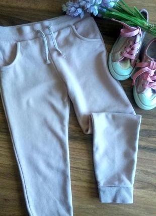 Модные теплые пудровые штанишки, брючки на малышку f&f 5-6 лет.