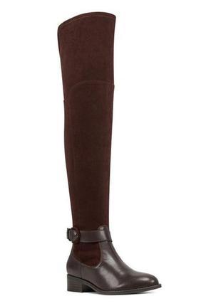 Nine west оригинал коричневые сапоги ботфорты на низком каблуке