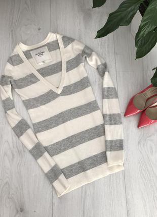 Теплый свитерок, удлиненная кофта, полоска, шерсть