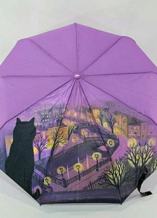 Шикарный зонт-автомат в подарочной коробке кот на крыше