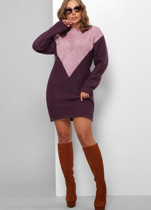 Стильное вязанное платье из полушерсти (6 цветов)* отличное качество