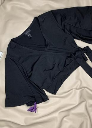 Блуза/рубашка/укорочённая/кроп-топ/чёрного цвета/с объемным рукавом/размер s/new look