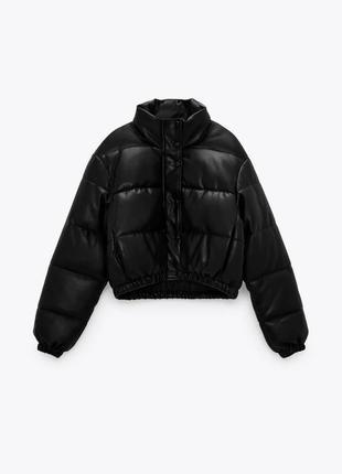 Кожаная куртка/пуховик в стиле zara