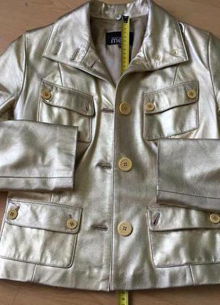 Кожаная куртка mefi золотая. размер s.