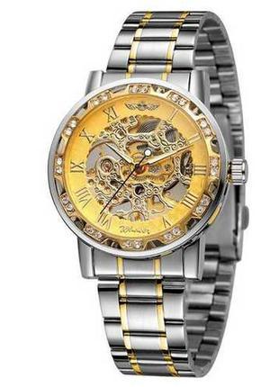 Часы winner 8012 silver-gold diamonds