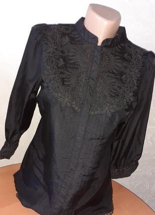Шелковая блуза с вышивкой шелк warehouse /англ 10