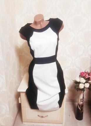 Стильное красивое черно белое платье