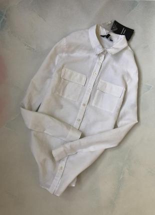 Стильная рубашка из хлопка в белом цвете