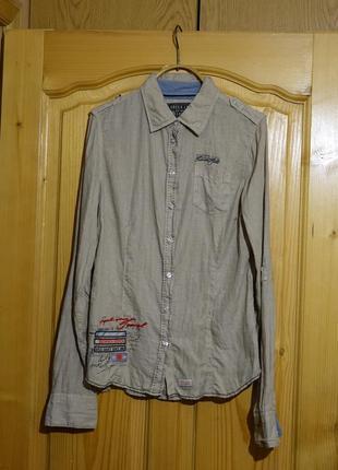 Стильная фирменная приталенная рубашка из некрашеного льна soccx  германия s.