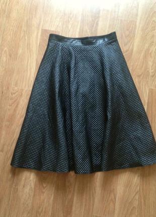Стильная расклешенная удлиненная юбка миди солнце клеш эко кожа кожзам широка эффектная