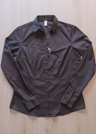Серая рубашка блузка с воротником апаш piazza italia италия