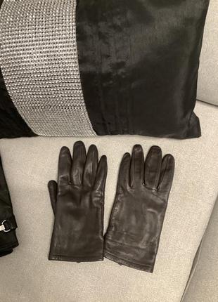 Коричневые кожаные перчатки размер м
