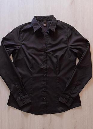 Черная рубашка блузка с воротником апаш piazza italia италия