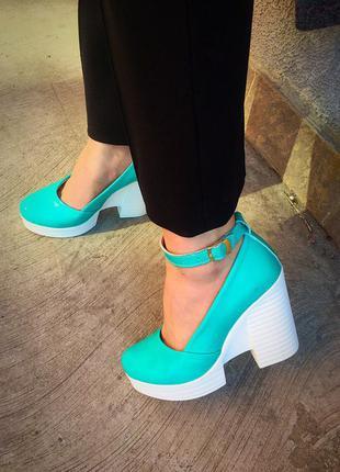 Туфли кожаные лазурные бирюза