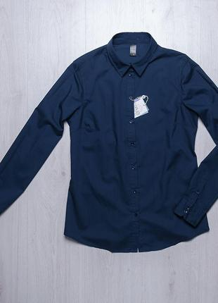Синяя стильная рубашка блузка piazza italia италия