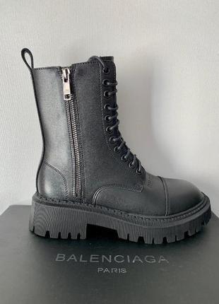 Ботинки на платформе balenciaga tractor черный цвет кожаные (36-40)💜