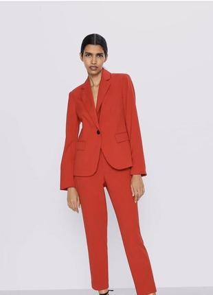Ярко красный пиджак жакет новый с биркой зара xs s zara