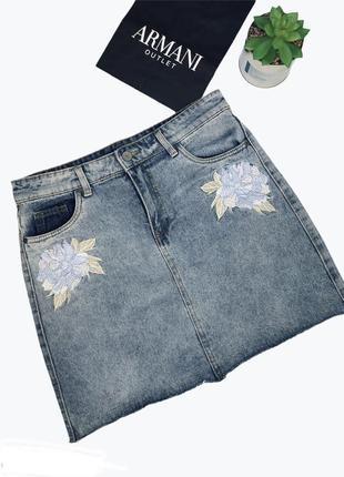 Джинсовая юбка с вышивкой zara l 46