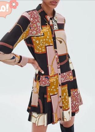 Платье рубашка zara цепи плисировка размер xs s