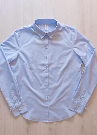 Голубая стильная рубашка блузка piazza italia италия